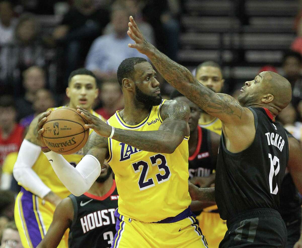 PHOTOS: A view of the last Rockets-Lakers matchup LeBron James won't face the Rockets on Thursday night.