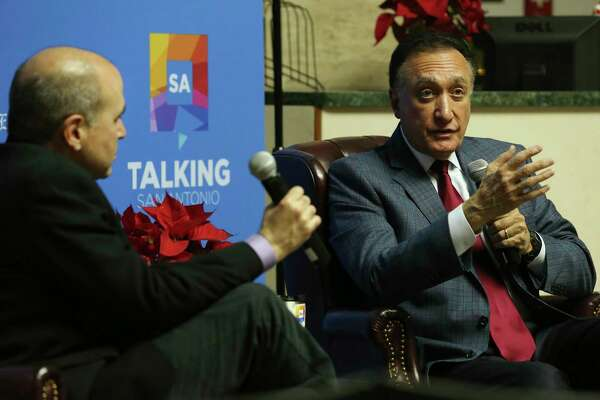 Former U.S. Secretary of Housing and Urban Development and former San Antonio Mayor Henry Cisneros, right, talks with San Antonio Express-News Metro Columnist Gilbert Garcia during the first of a new series, Talking San Antonio, Wednesday, Dec. 11, 2019. The series, free for Express-News subscribers, was held in the lobby of the newspaper. Cisneros spoke about issues affect San Antonio and the surrounding areas. Topics ranged from water to transportation to the possibility of a regional airport system with Austin. Each month, Garcia will sit down for an intimate Q&A with a San Antonio power player - someone making headlines in the community. The location will change monthly, bringing the series to various part of the city. Space is limited and only open to Express-News subscribers.