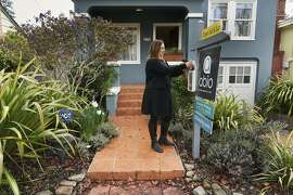 Real estate agent Shannon Prokup at a 2 bedroom, 1 bath house she has listed on Friday, Jan. 17, 2020, in Berkeley, Calif.