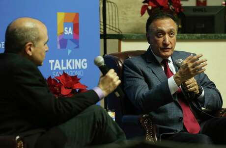 Henry Cisneros, former U.S. Secretary of Housing and Urban Development and former San Antonio Mayor, right, talks with San Antonio Express-News Metro Columnist Gilbert Garcia during the first of a new series, Talking San Antonio, Wednesday, Dec. 11, 2019. Cisneros said Friday he is supporting Joe Biden for the Democratic nomination for president.