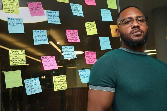Brandon Anderson, CEO of Raheem seen in his office on Monday, Dec. 23, 2019, in Oakland, Calif.