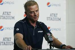 FILE - In this Dec. 15, 2019, file photo, Dallas Cowboys head coach Jason Garrett takes part in a news conference following an NFL football game against the Washington Redskins in Arlington, Texas. A person with direct knowledge of the decision says New York is hiring Garrett to be the Giants offensive coordinator. The person spoke to The Associated Press on condition of anonymity Friday, Jan. 17, 2020, because the team did not immediately announce the move. (AP Photo/Ron Jenkins, File)