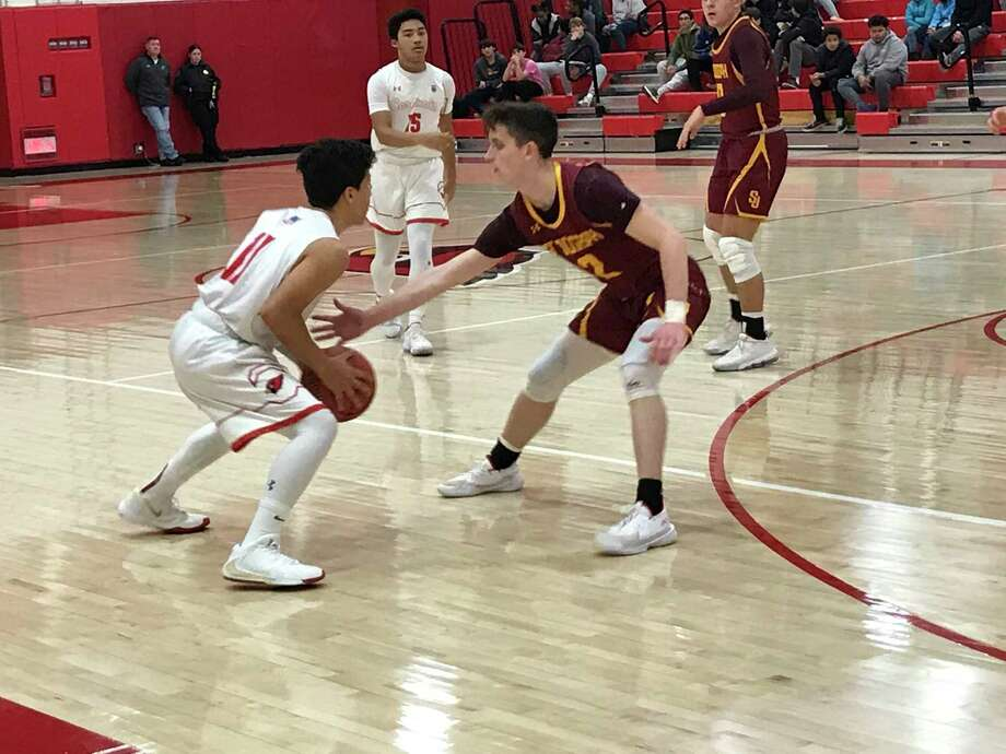 The St. Joseph boys basketball team posted a 52-51 comeback win vs. Greenwich in an FCIAC game held on Friday, January 17, 2020, in Greenwich. Photo: David Fierro /Hearst Connecticut Media