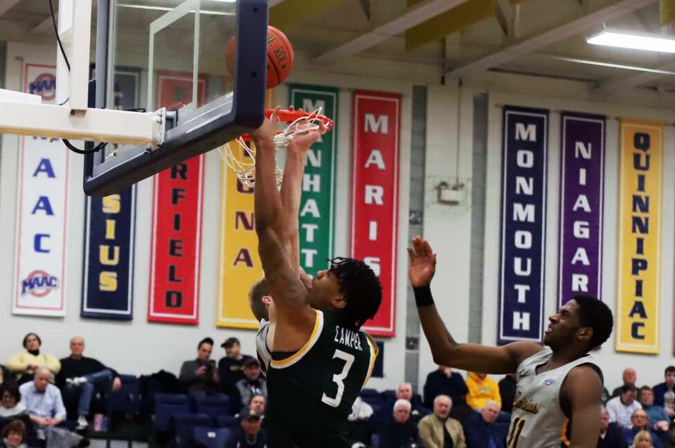 Manny Camper goes to the basket against Canisius in their game at Koessler Center on Friday, Jan. 17, 2020. (Paul Battson / Special to the Times Union)