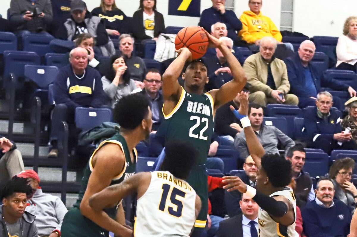 Jalen Picketts puts up a shot against Canisius in their game at Koessler Center on Friday, Jan. 17, 2020. (Paul Battson / Special to the Times Union)