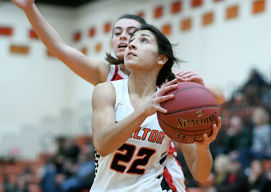 Leya Vohra takes the ball to the basket in Shelton's win over Branford. Photo: David G Whitham / For Hearst Connecticut Media / Copyriqht 2020 David G. Whitham, All rights reserved.
