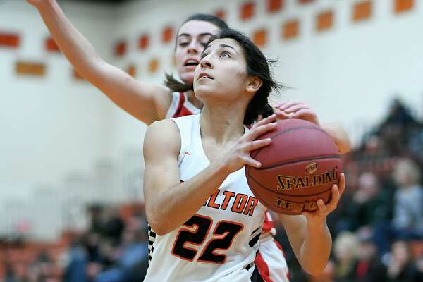 Leya Vohra takes the ball to the basket in Shelton's win over Branford.