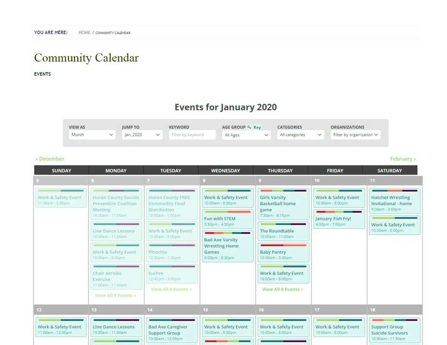 This is a view of the community calendar. It can be accessed by going to www.baevents.org. (Submitted Photo)