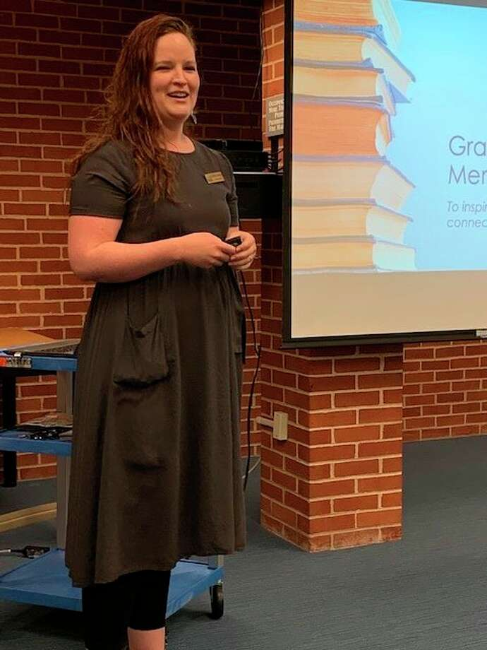 Grace A. Dow Memorial Library Director Miriam Andrus was the guest speaker at a recent meeting of the The John Alden Chapter of the Daughters of the American Revolution. (Photo provided)
