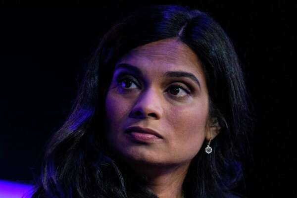 Vijaya Gadde, chief legal officer of Twitter., listens during the Wall Street Journal Tech Live global technology conference in Laguna Beach, Calif., on Oct. 21, 2019.