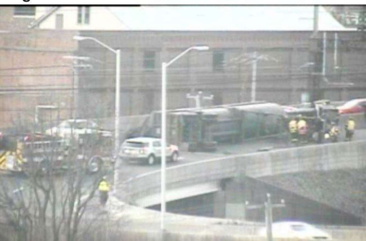 A truck rollover in Bridgeport, Conn. on Jan 18, 2020 that closed Exit 27A of I-95 northbound.