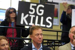 Gov. Ned Lamont attends a news conference at the South Norwalk train station Jan. 6 to announce a partnership with AT&T that will create the infrastructure for the transition to high-speed 5G.
