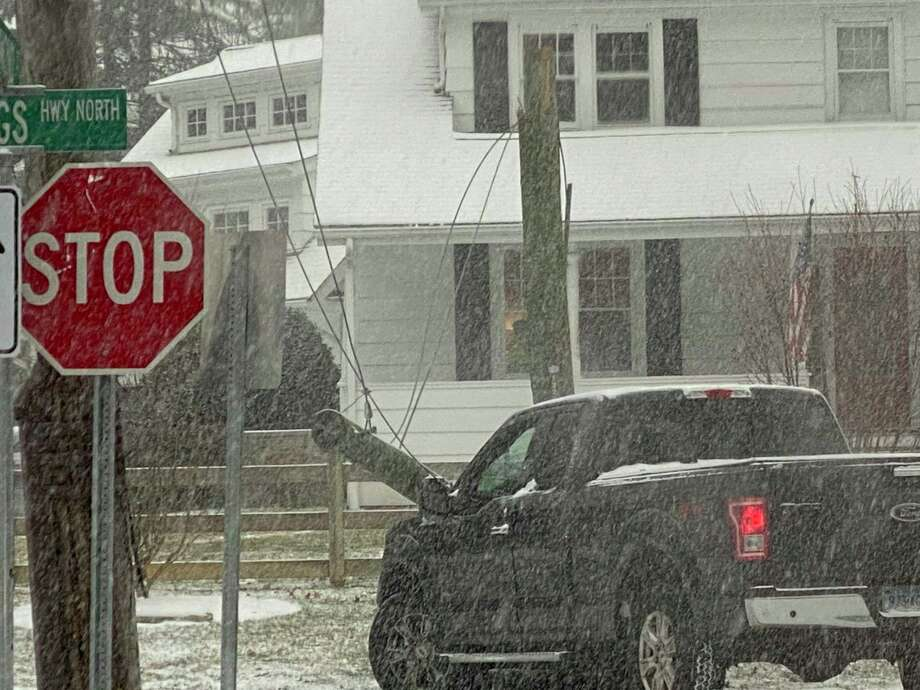 A truck just hit a pole in Darien at Old King's Highway and Raymond Street. Photo: Contributed /Chaseton Palen