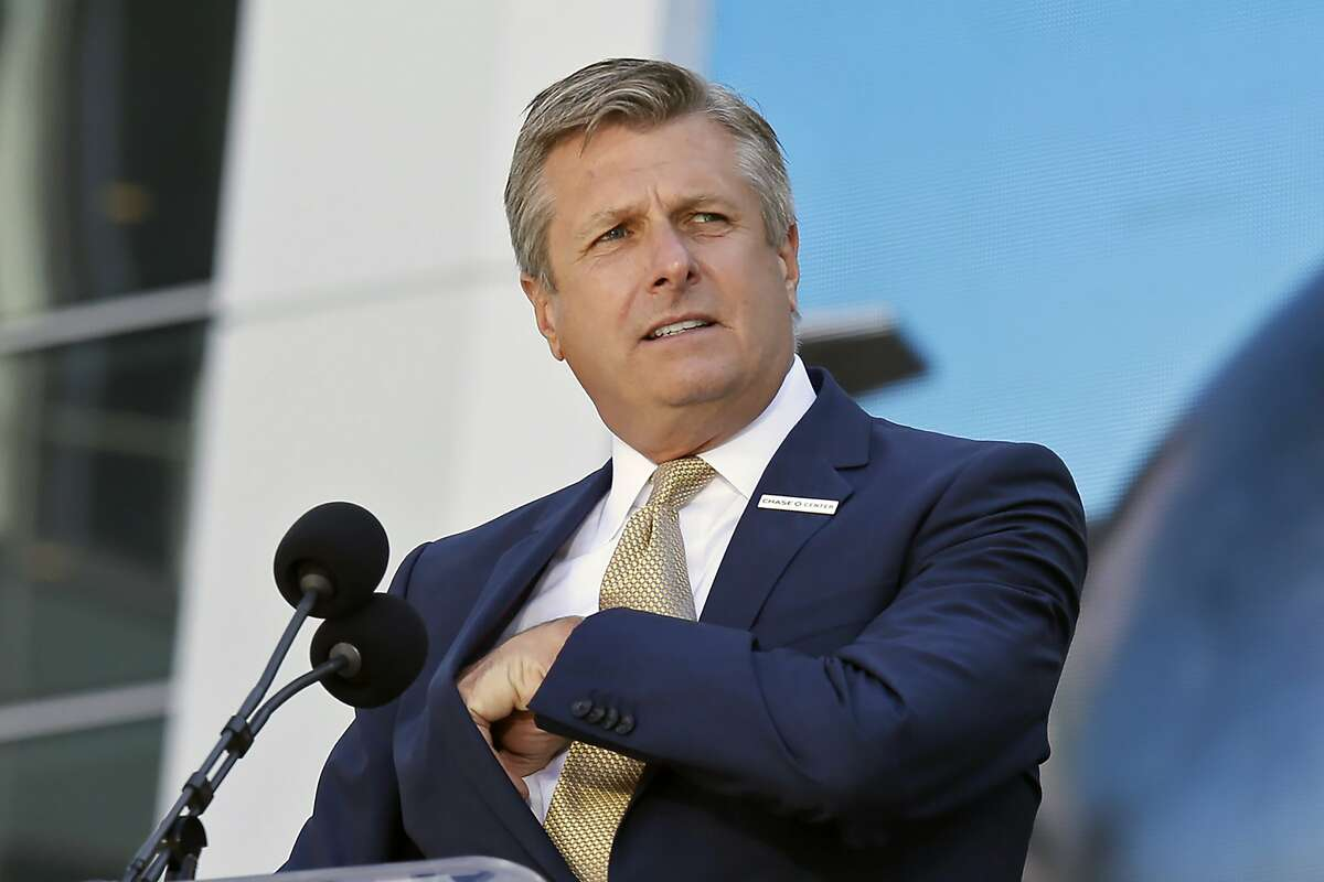 FILE - In this Sept. 3, 2019, file photo, Golden State Warriors COO and President Rick Welts is shown during the ribbon cutting ceremony of the Chase Center in San Francisco. Welts spent nearly two decades at the NBA working for David Stern. And to say the Golden State Warriors' president and chief operating officer will miss his former boss is putting it very lightly. (AP Photo/Eric Risberg, File)