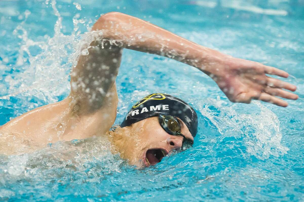 Midland's Ben Frame competes in the 500 yard freestyle during the Tri-Cities swimming and diving championships Saturday, Jan. 18, 2020 at Saginaw Valley State University. (Katy Kildee/kkildee@mdn.net)