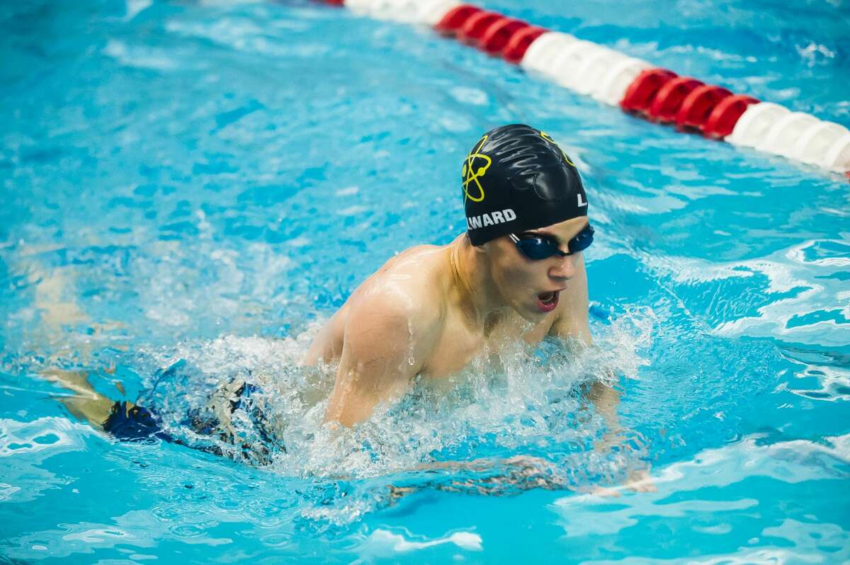 Midland's Lawrence Millward competes in the 200 yard individual medley during the Tri-Cities swimming and diving championships Saturday, Jan. 18, 2020 at Saginaw Valley State University. (Katy Kildee/kkildee@mdn.net)