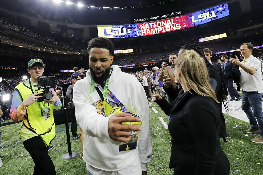 Browns wide receiver and LSU alum Odell Beckham Jr. celebrates after Monday's national championship game in New Orleans. Photo: Gerald Herbert / Associated Press