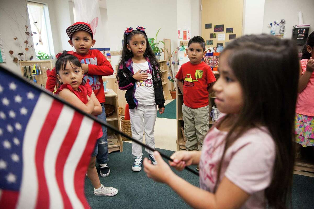 Children in Master Teacher Marielos Romero's bilingual class recite the Pledge of Allegiance Friday May 6, 2016 at the Pre-K 4 SA South Education Center. This facility is one of four education centers around the city. Rep. Joaquin Castro is trying to take the concept of Pre-K for SA to a national level, targeting Los Angeles, San Francisco and Denver are three cities that are targeted.
