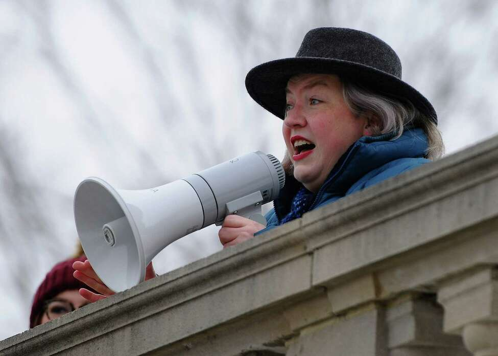 Saratoga County Supervisor Tara Gaston speaks at the Women's March and Rally, organized by middle and high school sisters, Abby, Maggie, and Emma Anthes, in downtown Saratoga Springs, N.Y. on Saturday, Jan 18, 2020. (Jenn March, Special to the Times Union )