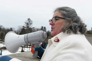 Assemblywoman Carrie Woerner speaks at the Women's March, organized by middle and high school sisters Abby, Maggie, and Emma Anthes, in downtown Saratoga Springs, N.Y. on Saturday, Jan 18, 2020. (Jenn March, Special to the Times Union )