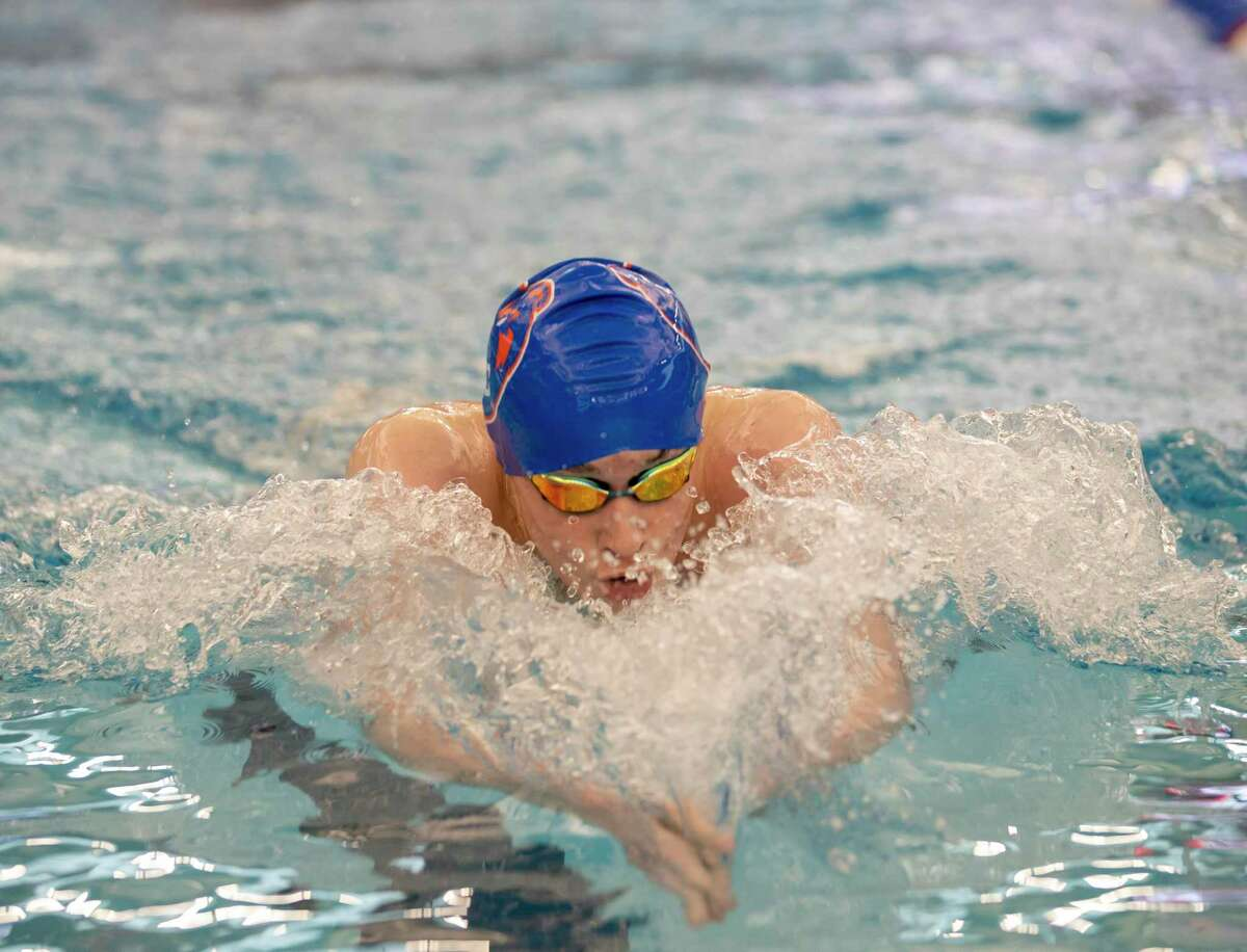 Grand Oaks swimmer Aaron Murray competed in a 200-yard IM in a District 22-5A swimming meet at New Caney ISD Natatorium in New Caney, Saturday, Jan. 18, 2020.
