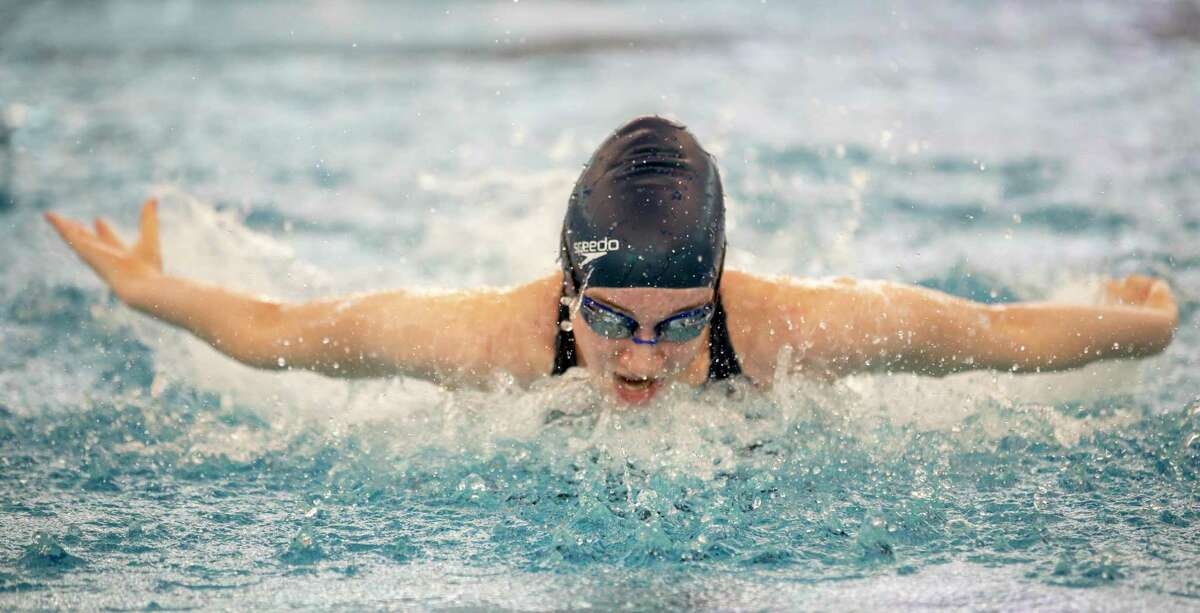 Madison Bauer of Grand Oaks swims in a 200-yard medley relay in a District 22-5A swimming meet at New Caney ISD Natatorium in New Caney, Saturday, Jan. 18, 2020.