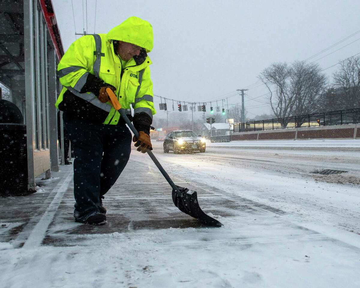 The National Weather Service is warning that a storm that will feature a dangerous mix of snow, sleet and ice is closing in on the region, bringing a heavy mix of precipitation that will be dangerous to drive in and remove with a snow shovel. In this photograph, John Anderson shovels snow at CDTA bus stop on Central Avenue in Colonie NY on Saturday, Jan. 18, 2019 (Jim Franco/Special to the Times Union.)