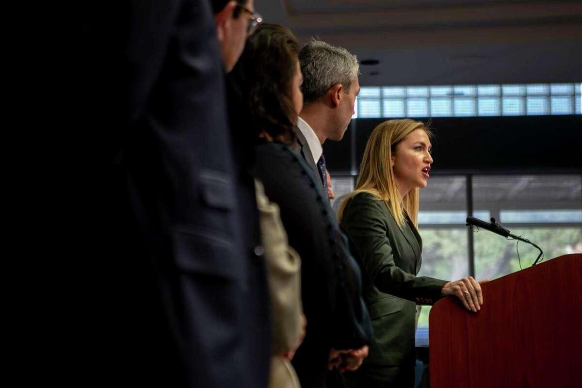 San Antonio Economic Development Foundation CEO Jenna Saucedo-Herrera speaks during a Sept. 19, 2019, news conference about Navistar's plans for a new San Antonio manufacturing facility.