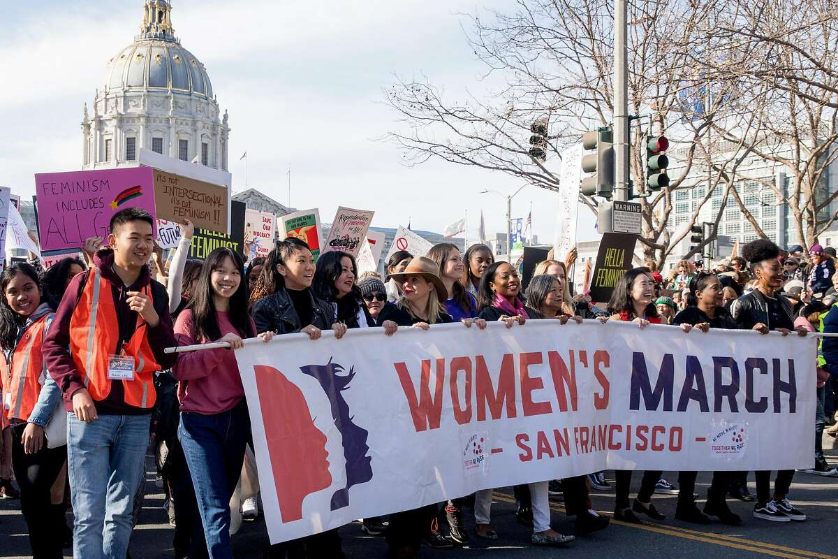 Local city officials and others lead the crowds in the 4th annual Women's March held in San Francisco, Calif. Saturday, Jan. 18, 2020.