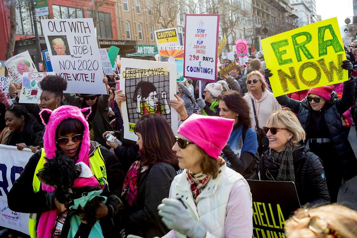 Thousands of demonstrators march along Market Street during the 4th annual Women's March held in San Francisco, Calif. Saturday, Jan. 18, 2020.
