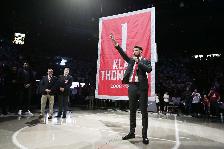 Former Washington State guard Klay Thompson speaks to the crowd as the school retired his jersey number during halftime of Saturday's game. Photo: Young Kwak / Associated Press