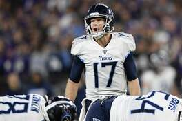 Tennessee Titans quarterback Ryan Tannehill (17) during the first half an NFL divisional playoff football game against the Baltimore Ravens, Saturday, Jan. 11, 2020, in Baltimore. (AP Photo/Nick Wass)