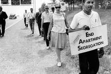 J. Charles Jones, right, begins a march around the Beltway in Washington, D.C. on June 9, 1966, to protest discrminatory housing policies.
