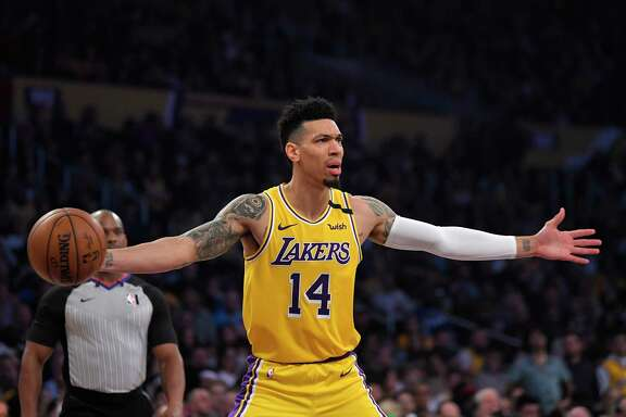 Los Angeles Lakers guard Danny Green gestures to officials during the first half of an NBA basketball game against the Cleveland Cavaliers Monday, Jan. 13, 2020, in Los Angeles. (AP Photo/Mark J. Terrill)
