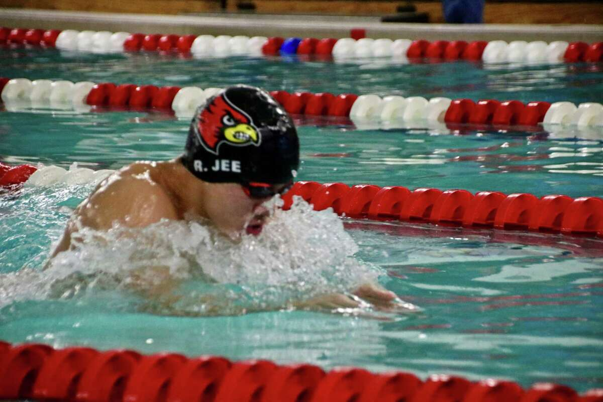 Ryan Jee of Greenwich swims to a first-place finish in the 200-yard individual medley for the Cardinals in their meet against Cheshire on Saturday, January 18, 2020 in Greenwich.