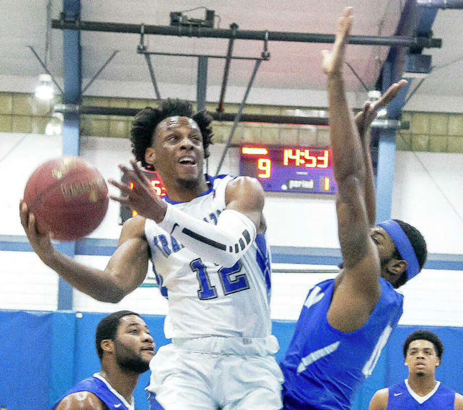 Jalen Morgan of LCCC (12) scored 15 points Saturday night against Vincennes University, but defending national champion VU rolled to an 86-50 victory at the River Bend Arena. Photo: Telegraph Photo