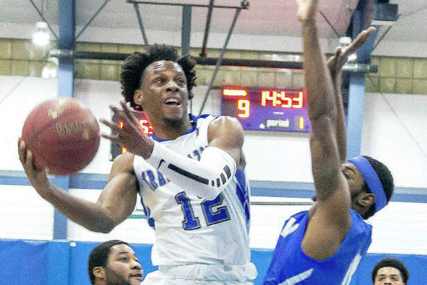 Jalen Morgan of LCCC (12) scored 15 points Saturday night against Vincennes University, but defending national champion VU rolled to an 86-50 victory at the River Bend Arena.
