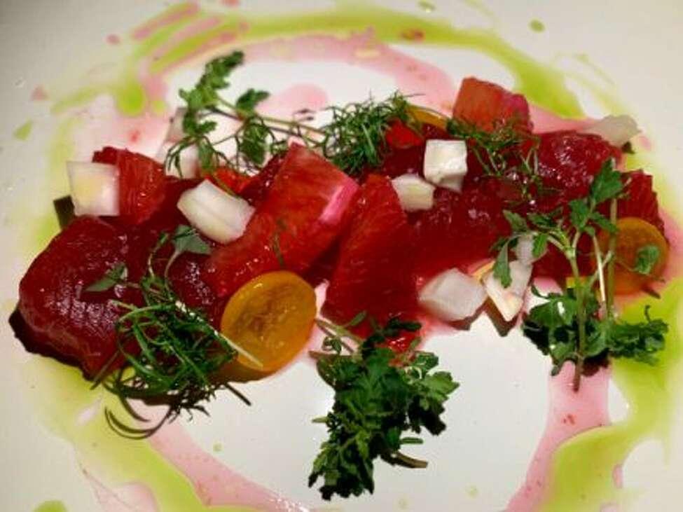 Tuna crudo, blood orange, kumquat at Radici Kitchen & Bar.