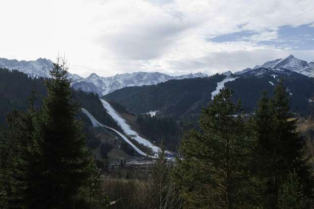Snow covered jump seen in Olympic Stadium in Garmisch-Partenkirchen, Germany, on Wednesday, January 8, 2020. MUJST CREDIT: Bloomberg photo by Michaela Handrek-Rehle.