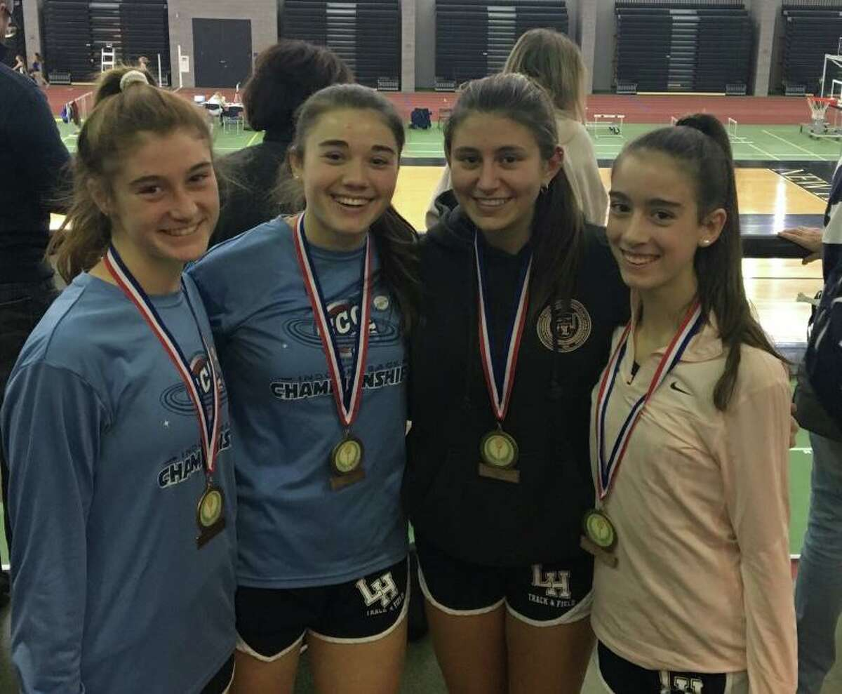 Lauralton junior Catherine McLaughlin, junior Lauren Baisley, senior captain Carly Costikyan and freshman Kelly Jones placed third in the 4x800 relay at the SCC Coaches Invitational.