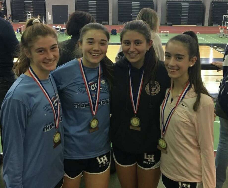 Lauralton junior Catherine McLaughlin, junior Lauren Baisley, senior captain Carly Costikyan and freshman Kelly Jones placed third in the 4x800 relay at the SCC Coaches Invitational. Photo: Contributed Photo / Lauralton Hall Athletics / Milford Mirror