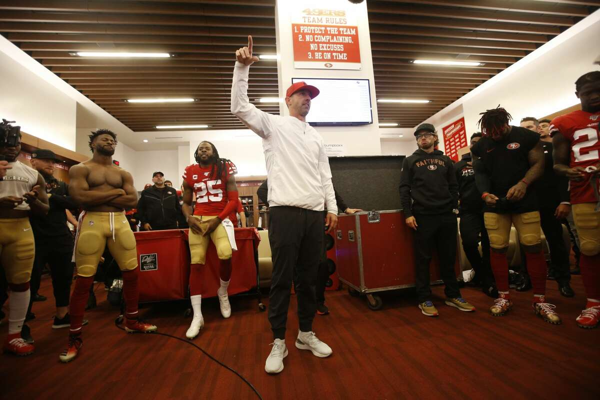 Head Coach Kyle Shanahan of the San Francisco 49ers addresses the team in the locker room following the game against the Minnesota Vikings at Levi's Stadium on January 11, 2020 in Santa Clara, California. The 49ers defeated the Vikings 27-10. (Photo by Michael Zagaris/San Francisco 49ers/Getty Images)
