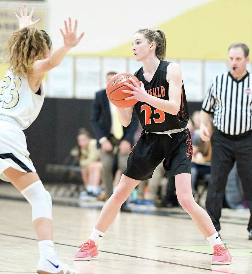 Cali Stietzel (file photo) scored 15 points in Ridgefield's FCIAC quarterfinal win over Danbury. Photo: David G. Whitham / For Hearst Connecticut Media / Copyriqht 2020 David G. Whitham, All rights reserved.