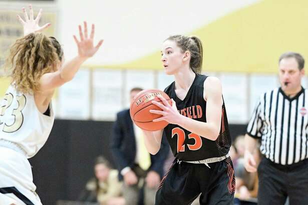 Cali Stietzel (file photo) scored 15 points in Ridgefield's FCIAC quarterfinal win over Danbury.