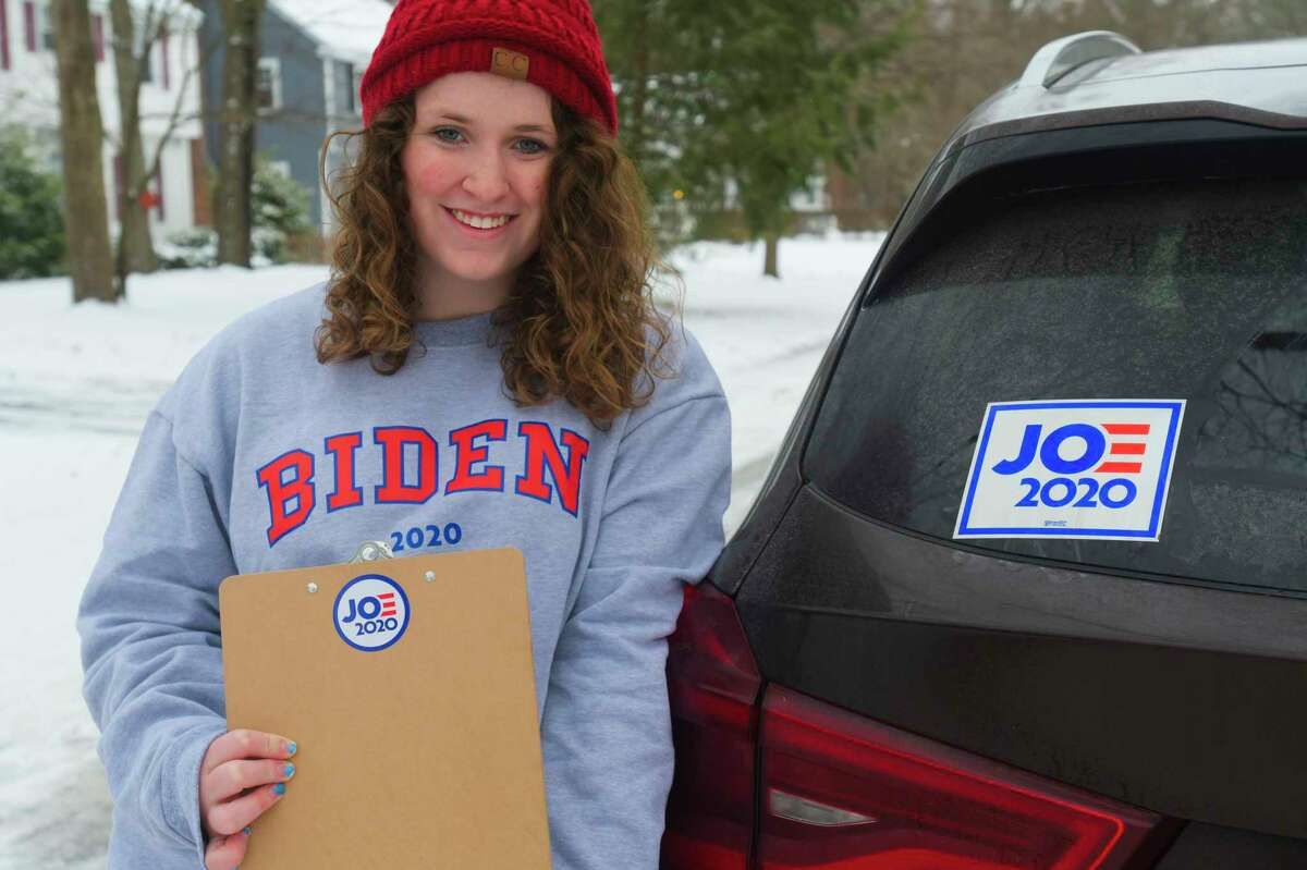 Caroline McGraw poses for a photo on Sunday, Jan. 19, 2020, in Niskayuna, N.Y. McGraw was out getting signatures because she is running to be a DNC delegate for Joe Biden. (Paul Buckowski/Times Union)