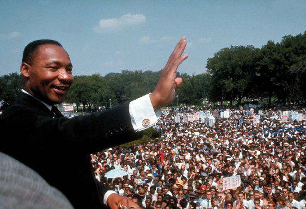 The Rev. Martin Luther King Jr. gives his