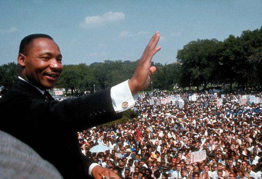 "The Rev. Martin Luther King Jr. gives his ""I Have a Dream"" speech in Washington in August 1963.