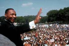 """The Rev. Martin Luther King Jr. gives his """"I Have a Dream"""" speech in Washington in August 1963."""