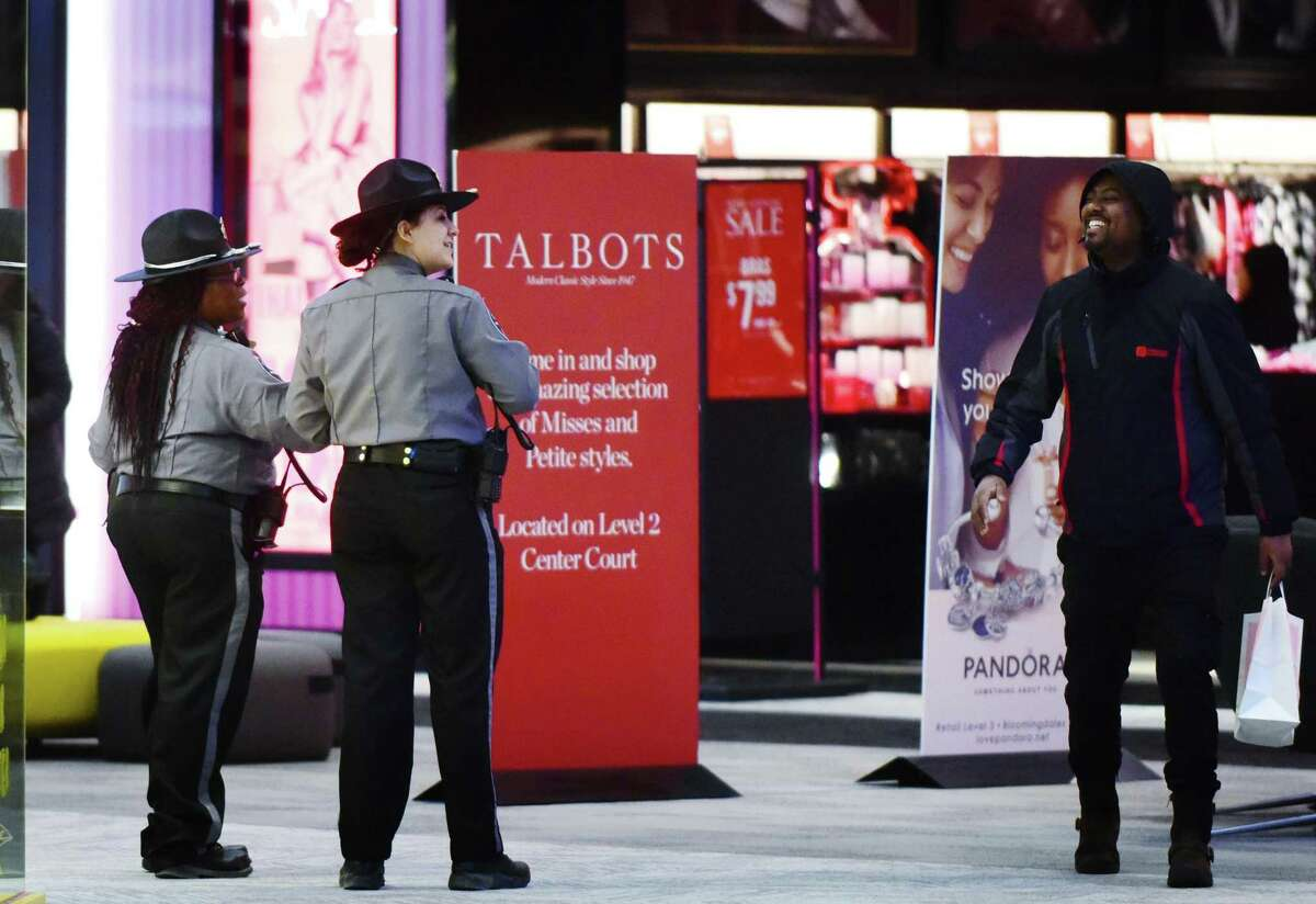Security officers at the SoNo Collection mall in Norwalk, Conn.