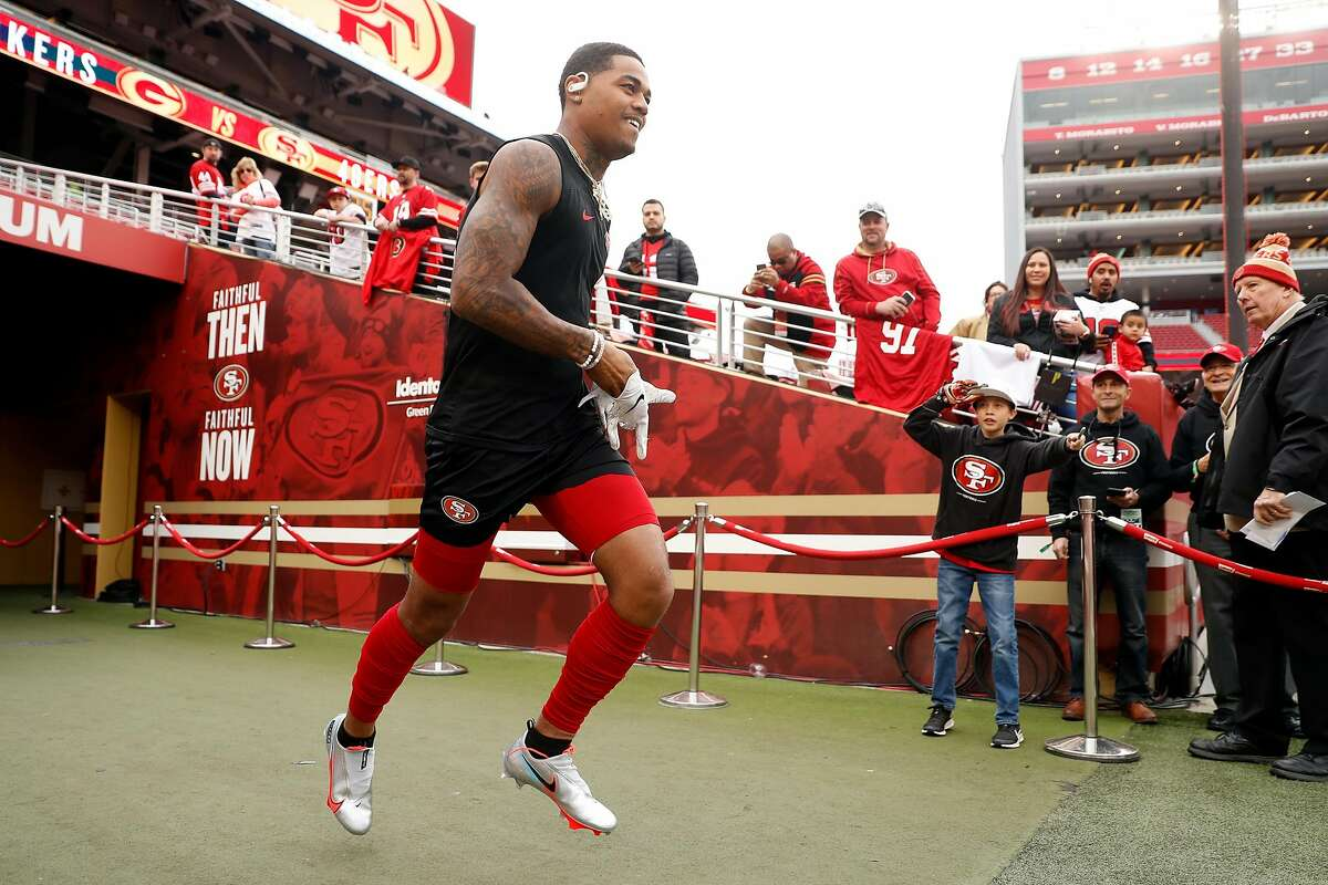 San Francisco 49ers' Kendrick Bourne heads out to warm up before playing Green Bay Packers during NFC Championship Game at Levi's Stadium in Santa Clara, Calif., on Sunday, January 19, 2020.